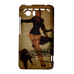 Paris Lady And French Poodle Vintage Newspaper Print Sexy Hot Gil Elvgren Pin Up Girl Paris Eiffel T HTC Vivid / Raider 4G Hardshell Case