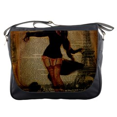 Paris Lady And French Poodle Vintage Newspaper Print Sexy Hot Gil Elvgren Pin Up Girl Paris Eiffel T Messenger Bag