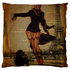 Paris Lady And French Poodle Vintage Newspaper Print Sexy Hot Gil Elvgren Pin Up Girl Paris Eiffel T Large Cushion Case (two Sided)