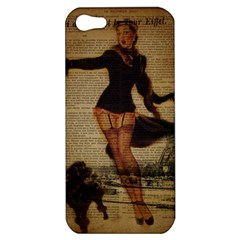 Paris Lady And French Poodle Vintage Newspaper Print Sexy Hot Gil Elvgren Pin Up Girl Paris Eiffel T Apple Iphone 5 Hardshell Case