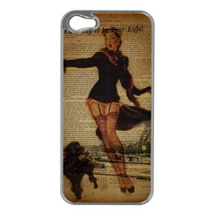 Paris Lady And French Poodle Vintage Newspaper Print Sexy Hot Gil Elvgren Pin Up Girl Paris Eiffel T Apple Iphone 5 Case (silver)