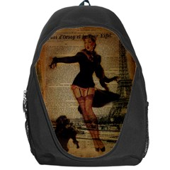 Paris Lady And French Poodle Vintage Newspaper Print Sexy Hot Gil Elvgren Pin Up Girl Paris Eiffel T Backpack Bag