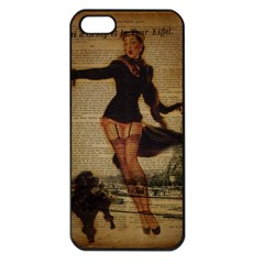 Paris Lady And French Poodle Vintage Newspaper Print Sexy Hot Gil Elvgren Pin Up Girl Paris Eiffel T Apple iPhone 5 Seamless Case (Black)