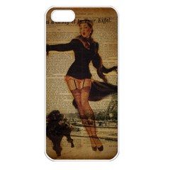 Paris Lady And French Poodle Vintage Newspaper Print Sexy Hot Gil Elvgren Pin Up Girl Paris Eiffel T Apple iPhone 5 Seamless Case (White)