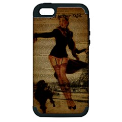 Paris Lady And French Poodle Vintage Newspaper Print Sexy Hot Gil Elvgren Pin Up Girl Paris Eiffel T Apple iPhone 5 Hardshell Case (PC+Silicone)