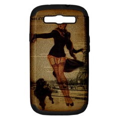 Paris Lady And French Poodle Vintage Newspaper Print Sexy Hot Gil Elvgren Pin Up Girl Paris Eiffel T Samsung Galaxy S Iii Hardshell Case (pc+silicone)