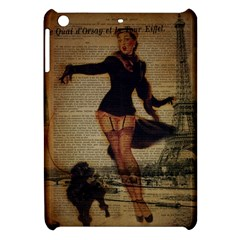 Paris Lady And French Poodle Vintage Newspaper Print Sexy Hot Gil Elvgren Pin Up Girl Paris Eiffel T Apple iPad Mini Hardshell Case