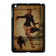 Paris Lady And French Poodle Vintage Newspaper Print Sexy Hot Gil Elvgren Pin Up Girl Paris Eiffel T Apple Ipad Mini Case (black)