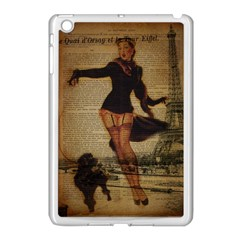 Paris Lady And French Poodle Vintage Newspaper Print Sexy Hot Gil Elvgren Pin Up Girl Paris Eiffel T Apple Ipad Mini Case (white)