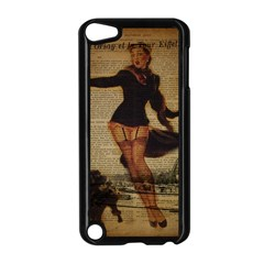 Paris Lady And French Poodle Vintage Newspaper Print Sexy Hot Gil Elvgren Pin Up Girl Paris Eiffel T Apple iPod Touch 5 Case (Black)