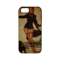 Paris Lady And French Poodle Vintage Newspaper Print Sexy Hot Gil Elvgren Pin Up Girl Paris Eiffel T Apple iPhone 5 Classic Hardshell Case (PC+Silicone)