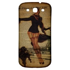 Paris Lady And French Poodle Vintage Newspaper Print Sexy Hot Gil Elvgren Pin Up Girl Paris Eiffel T Samsung Galaxy S3 S III Classic Hardshell Back Case