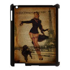 Paris Lady And French Poodle Vintage Newspaper Print Sexy Hot Gil Elvgren Pin Up Girl Paris Eiffel T Apple iPad 3/4 Case (Black)