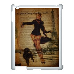 Paris Lady And French Poodle Vintage Newspaper Print Sexy Hot Gil Elvgren Pin Up Girl Paris Eiffel T Apple iPad 3/4 Case (White)