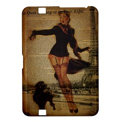 Paris Lady And French Poodle Vintage Newspaper Print Sexy Hot Gil Elvgren Pin Up Girl Paris Eiffel T Kindle Fire Hd 8 9  Hardshell Case