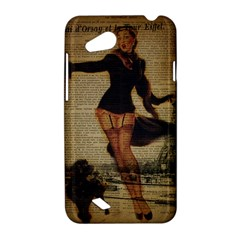 Paris Lady And French Poodle Vintage Newspaper Print Sexy Hot Gil Elvgren Pin Up Girl Paris Eiffel T HTC T328D (Desire VC) Hardshell Case