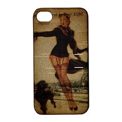 Paris Lady And French Poodle Vintage Newspaper Print Sexy Hot Gil Elvgren Pin Up Girl Paris Eiffel T Apple iPhone 4/4S Hardshell Case with Stand