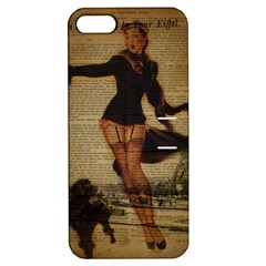 Paris Lady And French Poodle Vintage Newspaper Print Sexy Hot Gil Elvgren Pin Up Girl Paris Eiffel T Apple Iphone 5 Hardshell Case With Stand