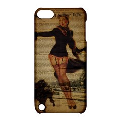 Paris Lady And French Poodle Vintage Newspaper Print Sexy Hot Gil Elvgren Pin Up Girl Paris Eiffel T Apple iPod Touch 5 Hardshell Case with Stand