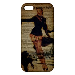 Paris Lady And French Poodle Vintage Newspaper Print Sexy Hot Gil Elvgren Pin Up Girl Paris Eiffel T iPhone 5 Premium Hardshell Case