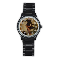 Paris Lady And French Poodle Vintage Newspaper Print Sexy Hot Gil Elvgren Pin Up Girl Paris Eiffel T Sport Metal Watch (Black)