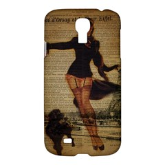 Paris Lady And French Poodle Vintage Newspaper Print Sexy Hot Gil Elvgren Pin Up Girl Paris Eiffel T Samsung Galaxy S4 I9500/I9505 Hardshell Case