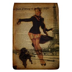 Paris Lady And French Poodle Vintage Newspaper Print Sexy Hot Gil Elvgren Pin Up Girl Paris Eiffel T Removable Flap Cover (large)
