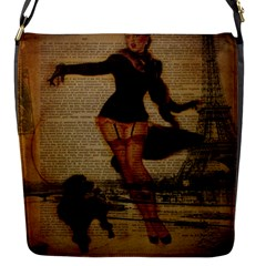 Paris Lady And French Poodle Vintage Newspaper Print Sexy Hot Gil Elvgren Pin Up Girl Paris Eiffel T Flap closure messenger bag (Small)