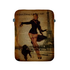 Paris Lady And French Poodle Vintage Newspaper Print Sexy Hot Gil Elvgren Pin Up Girl Paris Eiffel T Apple Ipad 2/3/4 Protective Soft Case