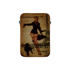 Paris Lady And French Poodle Vintage Newspaper Print Sexy Hot Gil Elvgren Pin Up Girl Paris Eiffel T Apple iPad Mini Protective Soft Case