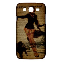 Paris Lady And French Poodle Vintage Newspaper Print Sexy Hot Gil Elvgren Pin Up Girl Paris Eiffel T Samsung Galaxy Mega 5.8 I9152 Hardshell Case