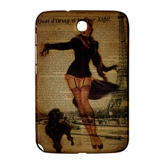 Paris Lady And French Poodle Vintage Newspaper Print Sexy Hot Gil Elvgren Pin Up Girl Paris Eiffel T Samsung Galaxy Note 8.0 N5100 Hardshell Case