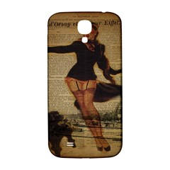Paris Lady And French Poodle Vintage Newspaper Print Sexy Hot Gil Elvgren Pin Up Girl Paris Eiffel T Samsung Galaxy S4 I9500/I9505  Hardshell Back Case