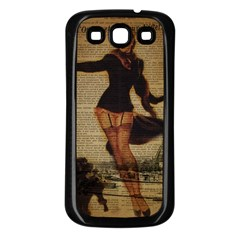 Paris Lady And French Poodle Vintage Newspaper Print Sexy Hot Gil Elvgren Pin Up Girl Paris Eiffel T Samsung Galaxy S3 Back Case (Black)