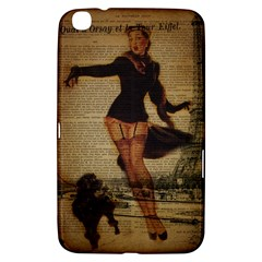 Paris Lady And French Poodle Vintage Newspaper Print Sexy Hot Gil Elvgren Pin Up Girl Paris Eiffel T Samsung Galaxy Tab 3 (8 ) T3100 Hardshell Case