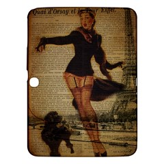 Paris Lady And French Poodle Vintage Newspaper Print Sexy Hot Gil Elvgren Pin Up Girl Paris Eiffel T Samsung Galaxy Tab 3 (10.1 ) P5200 Hardshell Case