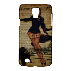 Paris Lady And French Poodle Vintage Newspaper Print Sexy Hot Gil Elvgren Pin Up Girl Paris Eiffel T Samsung Galaxy S4 Active (i9295) Hardshell Case