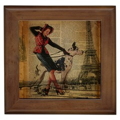 Paris Girl And Great Dane Vintage Newspaper Print Sexy Hot Gil Elvgren Pin Up Girl Paris Eiffel Towe Framed Ceramic Tile