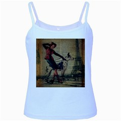Paris Girl And Great Dane Vintage Newspaper Print Sexy Hot Gil Elvgren Pin Up Girl Paris Eiffel Towe Baby Blue Spaghetti Tank