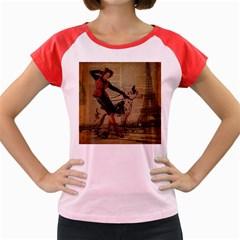 Paris Girl And Great Dane Vintage Newspaper Print Sexy Hot Gil Elvgren Pin Up Girl Paris Eiffel Towe Women s Cap Sleeve T-Shirt (Colored)