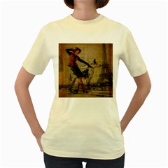 Paris Girl And Great Dane Vintage Newspaper Print Sexy Hot Gil Elvgren Pin Up Girl Paris Eiffel Towe  Womens  T-shirt (Yellow)