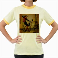 Paris Girl And Great Dane Vintage Newspaper Print Sexy Hot Gil Elvgren Pin Up Girl Paris Eiffel Towe Womens  Ringer T-shirt (Colored)