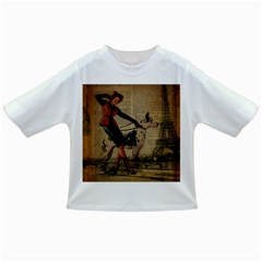 Paris Girl And Great Dane Vintage Newspaper Print Sexy Hot Gil Elvgren Pin Up Girl Paris Eiffel Towe Baby T-shirt