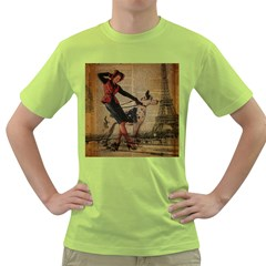Paris Girl And Great Dane Vintage Newspaper Print Sexy Hot Gil Elvgren Pin Up Girl Paris Eiffel Towe Mens  T-shirt (Green)