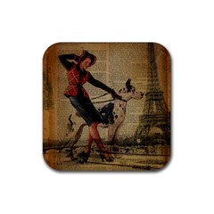 Paris Girl And Great Dane Vintage Newspaper Print Sexy Hot Gil Elvgren Pin Up Girl Paris Eiffel Towe Drink Coasters 4 Pack (Square)