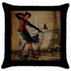 Paris Girl And Great Dane Vintage Newspaper Print Sexy Hot Gil Elvgren Pin Up Girl Paris Eiffel Towe Black Throw Pillow Case