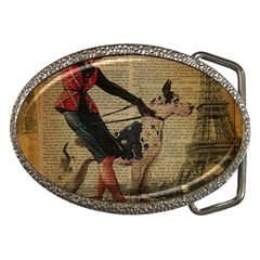 Paris Girl And Great Dane Vintage Newspaper Print Sexy Hot Gil Elvgren Pin Up Girl Paris Eiffel Towe Belt Buckle (oval)