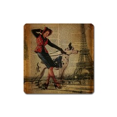 Paris Girl And Great Dane Vintage Newspaper Print Sexy Hot Gil Elvgren Pin Up Girl Paris Eiffel Towe Magnet (Square)