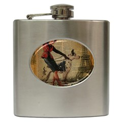 Paris Girl And Great Dane Vintage Newspaper Print Sexy Hot Gil Elvgren Pin Up Girl Paris Eiffel Towe Hip Flask