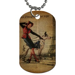 Paris Girl And Great Dane Vintage Newspaper Print Sexy Hot Gil Elvgren Pin Up Girl Paris Eiffel Towe Dog Tag (Two-sided)